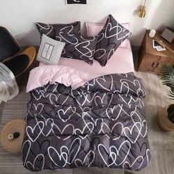 Bedding Set luxury Pink love 2/3/4pcs Family Set Sheet Duvet Cover Pillowcase Boy Room flat sheet, No filler 2019 bed set