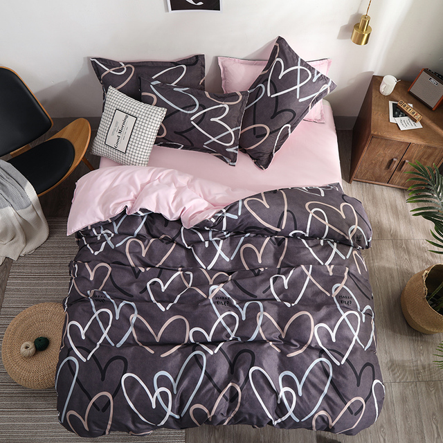 Bedding Set luxury Pink love 2/3/4pcs Family Set Sheet Duvet Cover Pillowcase Boy Room flat sheet, No filler 2019 bed set