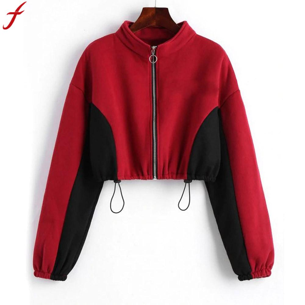 Cropped hoodies Women Sweatshirt Round Neck Zipper Tracksuit 2020 Autumn Long Sleeve Short Top Sweatshirt Blouse moletom