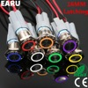 16mm Metal Latching Locking Push Button Switch LED Car Dash 5V 12V 110V 220V Red Blue Green Waterproof Stainless Steel 1NO 1NC