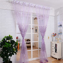Wintersweet Flower Printed Tulle Window Screening Sheer Voile Gauze Curtains for Bedroom Living Room Cafe Decorative Rod Pocket(China)