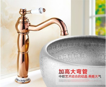 2016 Free shipping New arrival Bathroom Faucet ceramic Rose Gold  Brass Basin Sink Faucet /Fashion wash  basin faucet&water tap