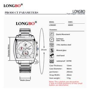 Image 2 - LONGBO mode hommes montre haut marque de luxe cadran carré mâle montre de sport hommes en acier inoxydable montre Relogio Masculino reloj hombre