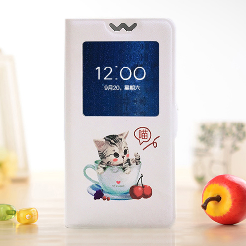 QIJUN Case For Alcatel One Touch Idol 3 4 7 39 39 6039 6039A 6039K Painted Cartoon Magnetic Flip Window PU Leather Phone Cover in Flip Cases from Cellphones amp Telecommunications