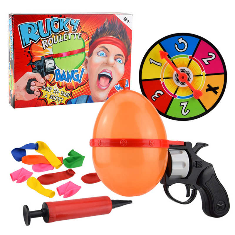 Russian Roulette Party Balloon Gun Model Creative Adult Toys Family Interaction Game Lucky Roulette Tricky Fun Gifts Interactive