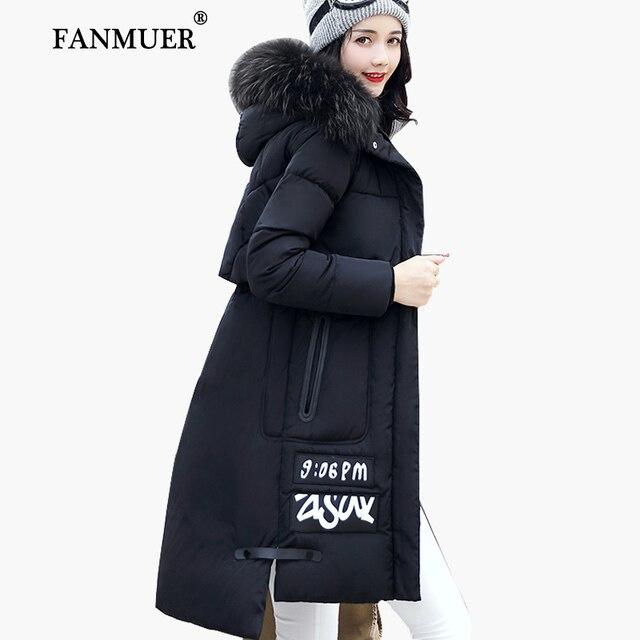 Fanmuer 2017冬ジャケット女性の毛皮冬コートフード付きレディース服ジャケット長い女性の綿パーカーjaqueta feminina invern
