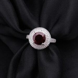 Image 4 - Gem ballet s ballet 3.15ct natural vermelho granada anel de pedra preciosa 925 prata esterlina noivado cocktail anéis para mulheres jóias finas
