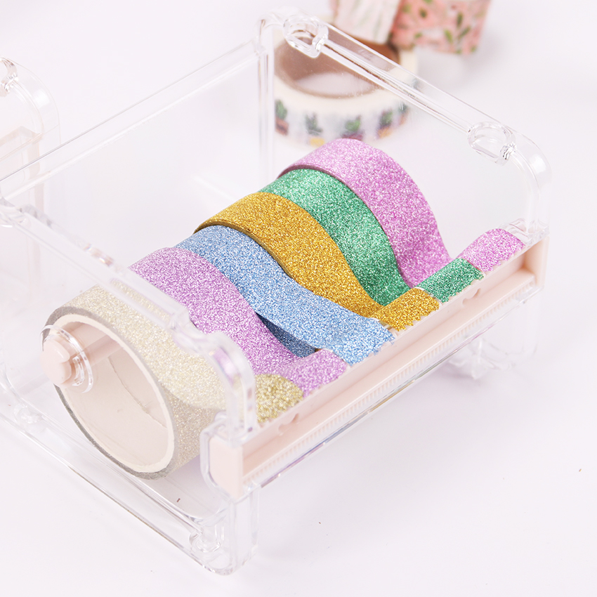 1PC Cute Simple Creative Transparent Adhesive Tape Dispenser Office Desktop Paper Washi Tape Holder With Tape Cutter