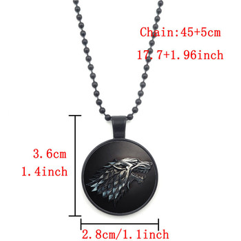 Game of Thrones necklaces pendants Collage house stark Glass Cabochon Wolf Jewelry Black Bead Chain Necklace