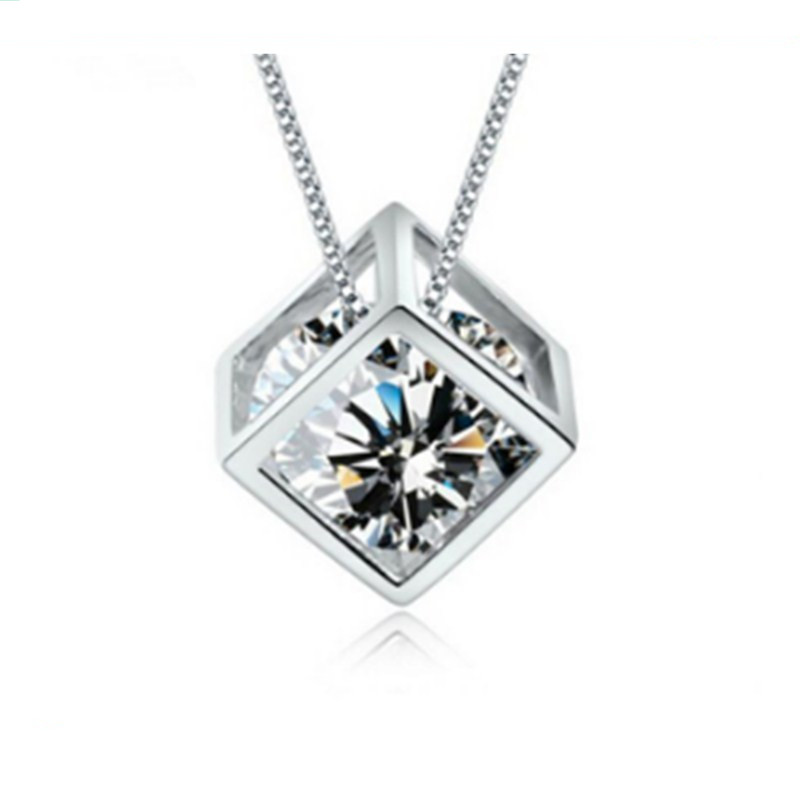 High-quality Silver Pendant Square Cube Love Window Ladies Fashion Crystal Jewelry Manufacturers, Wholesale Chainless