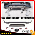 G63 front bumper+ B800 front lip fit for MB G-class W463 G500 G550 G55 style W463 to B-style B800 front look