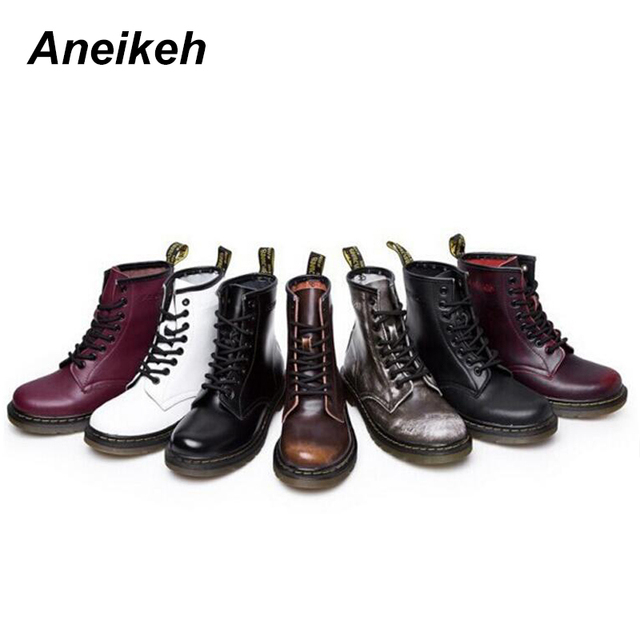 Aneikeh Women Ankle Boots Shoes Woman 2018 Spring Fall Genuine Leather Lace Up Shoes Punk Plus Size 43 44 Riding, Equestr Boots 4