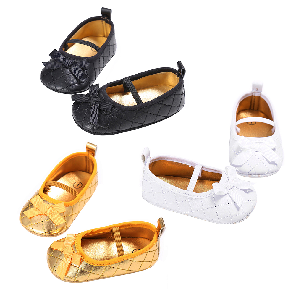 PU Leather Newborn Baby Girl Moccasins Moccs Shoes Bow Princess Ballet Shoes Soft Soled Non-slip Footwear Crib First walker