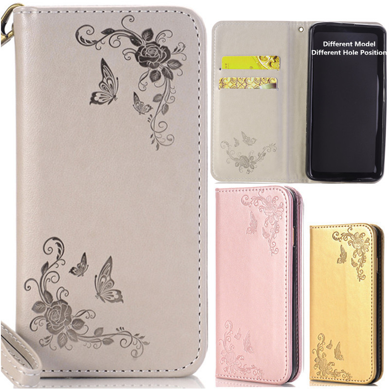 Wekays Luxury Flower Butterfly Leather Flip Fundas Case For Coque Samsung Galaxy Note3 Note4 Note5 Note 3 4 5 Cover Cases Capa