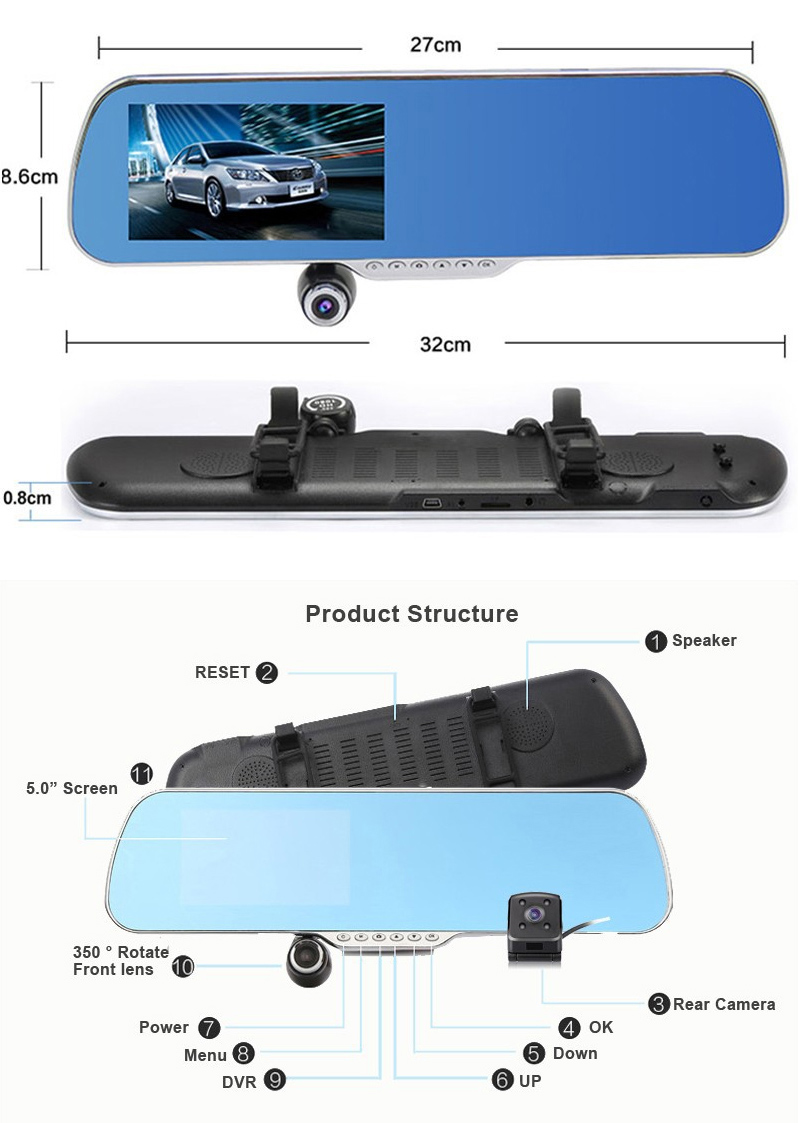 "5.0"" Touch Android 4.4 ROM Dual lens FHD1080P camera WiFi GPS parking car dvrs Rearview mirror video recorder Car DVR 10"