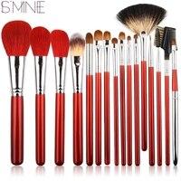 ISMINE 16Pcs Set Makeup Brush Set Red Black Wood Handle Cosmetic Tools Foundation Eyeshadow Brush Animal