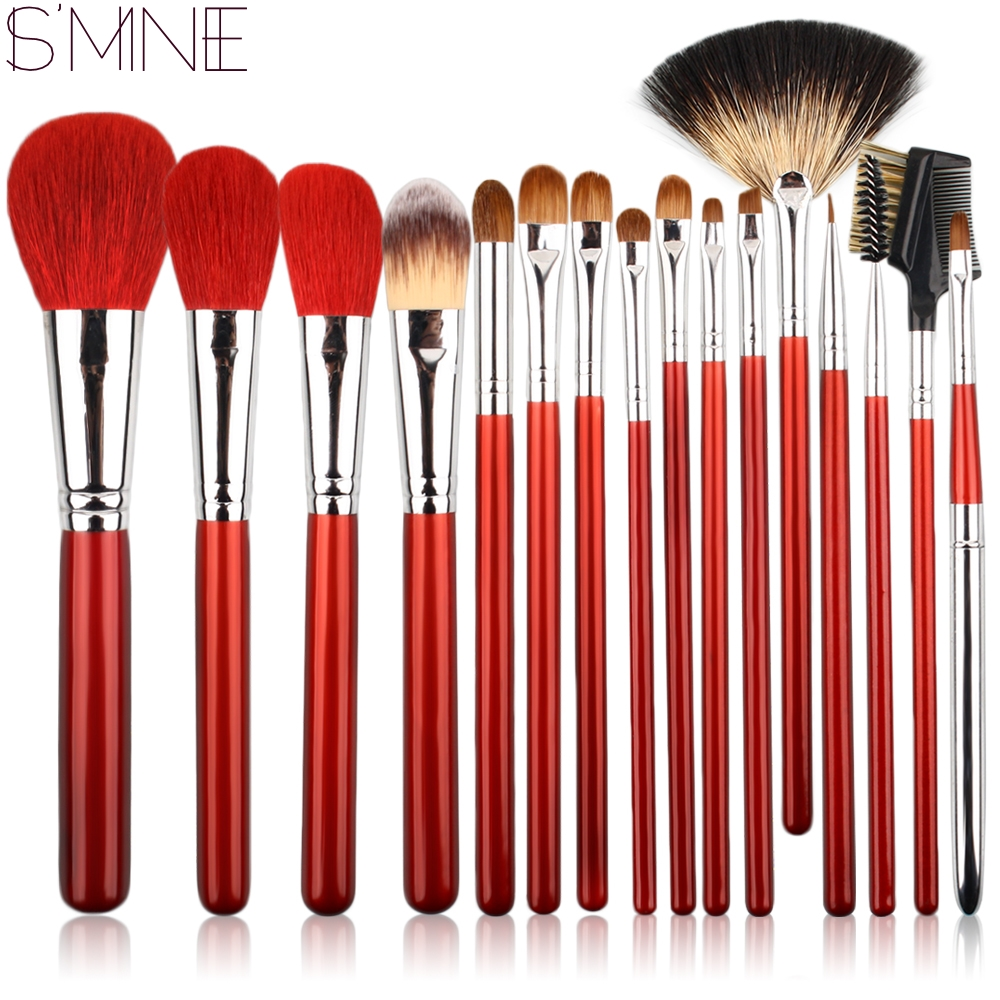 ISMINE 16Pcs/set Makeup Brush Set Red Black Wood Handle Cosmetic Tools Foundation Eyeshadow Brush Animal Hair Makeup Brushes Kit new lcbox professional 16 pcs makeup brush set kit pouch bag cosmetic brush kit cosmetic powder foundation eyeshadow brush tools