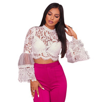 Aproms White Crochet Lace Mesh Flare Sleeve Cropped Blouse Women Long Sleeve Lace Hollow Out Shirt