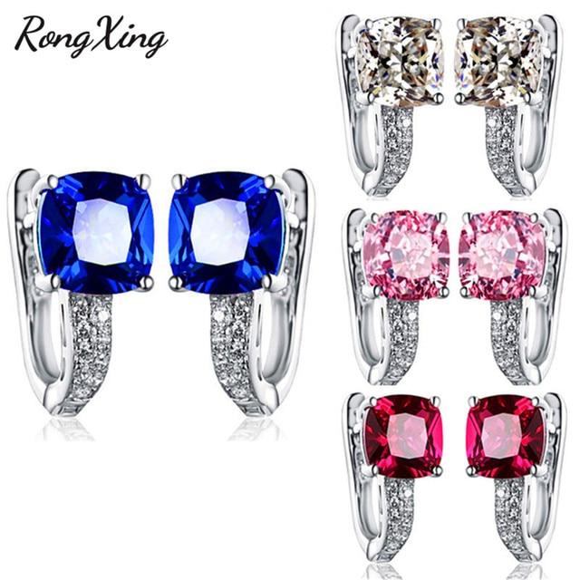 RongXing Square Blue Red Pink White Zircon Hoop Earrings For Women 925 Sterling Silver Filled Jewelry.jpg 640x640 - RongXing Square Blue/Red/Pink/White Zircon Hoop Earrings For Women 925 Sterling Silver Filled Jewelry Birthstone Earrings HE079