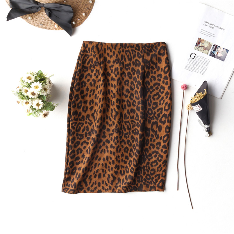 Ukrainian Explosions Leopard Skirt Women 2019 Summer New Large Size Women's Straight Skirts Fashion Print Bag Hip Skirt Womens
