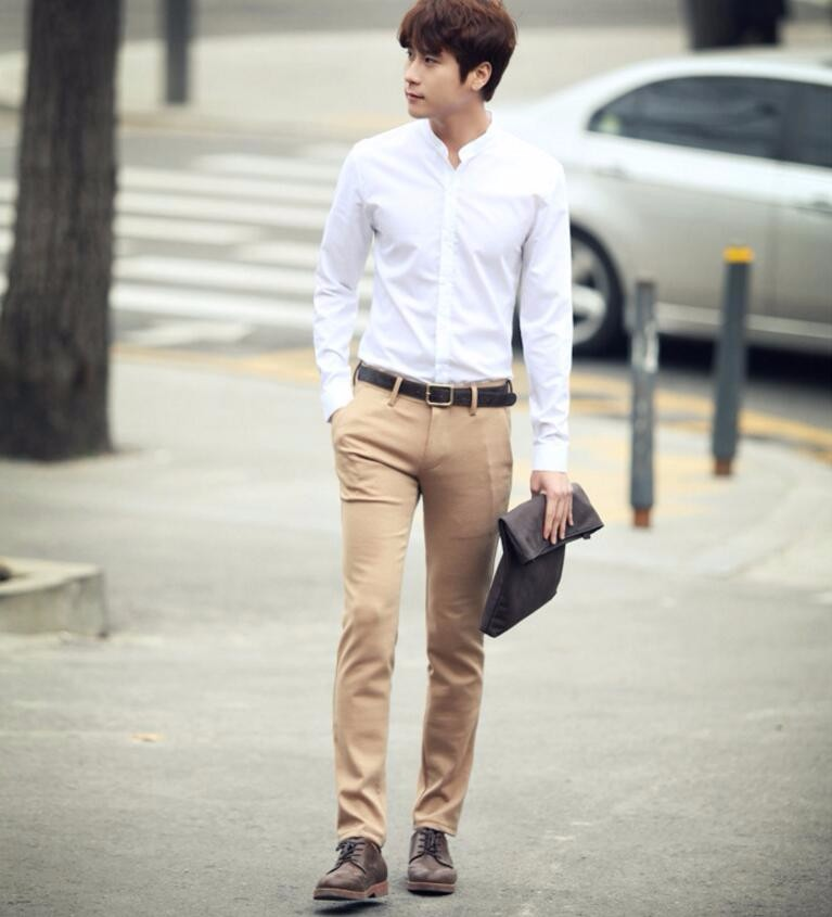 11.1 Chinese collar men shirt fashion leisure Chinese style round collar white shirt bridegroom handsome men\'s shirts