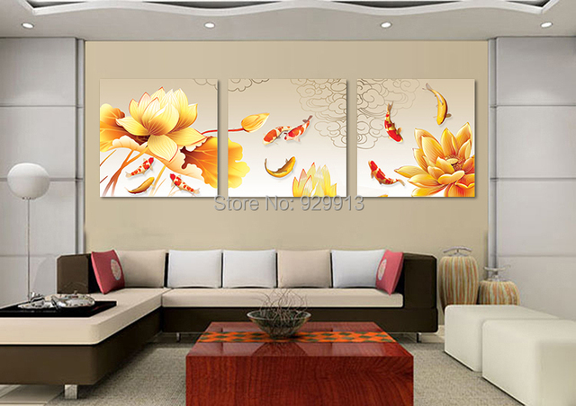 Painting For Living Room Feng Shui What Color Framed 3 Panel Wall Art Chinese Oil Koi Fish Picture Decoration M0056