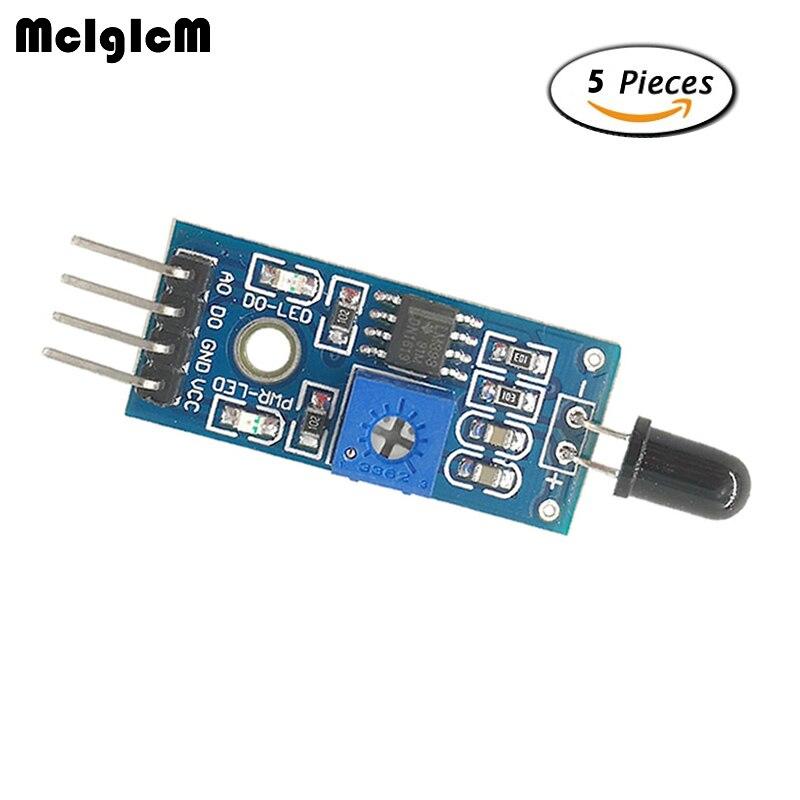 Mcigicm 5 шт. 4PIN пламя источником воспламенения модуль датчика пожарной сигнализации модуль обнаруживает инфракрасный приемник модуль ...