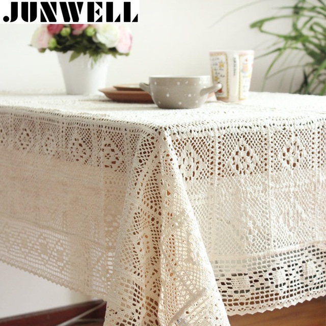 100% Cotton Knitted Lace tablecloth Shabby Chic Vintage Crocheted ...