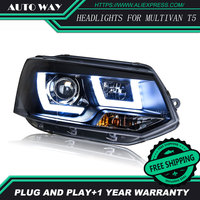 Free shipping ! Car styling LED HID Rio LED headlights Head Lamp case for VW Multivan T5 2012 2016 Bi Xenon Lens low beam