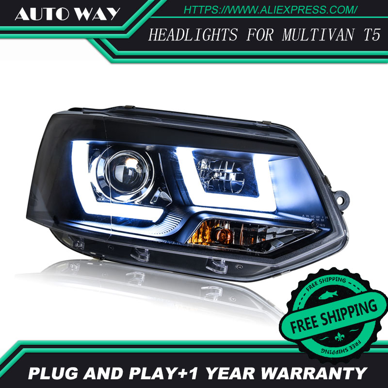 Free Shipping Car Styling LED HID Rio LED Headlights Head Lamp Case For VW Multivan T5