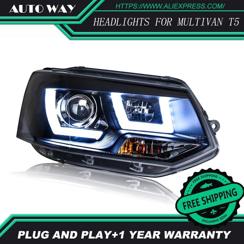 Livraison gratuite! Style de voiture LED HID Rio LED phares lampe frontale pour VW Multivan T5 2012-2016 bi-xénon lentille feux de croisement