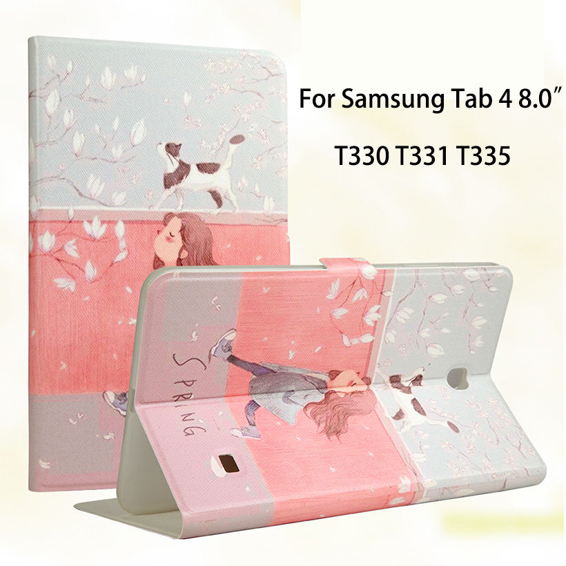 Fashion Painted Flip Silicone Leather Case For Samsung Galaxy Tab 4 8 T330 T331 T335 8.0 Case Smart Cover tablet Funda Shell crocodile pattern luxury pu leather case for samsung galaxy tab 4 8 0 t330 flip stand cover for samsung tab 4 8 0 t330 sm t330