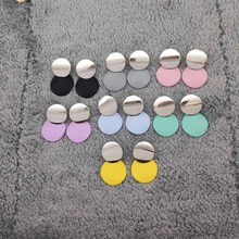 Fashion Luxury Jewelry Silver Metallic Geometric Earrings 7 Color Round for Women A