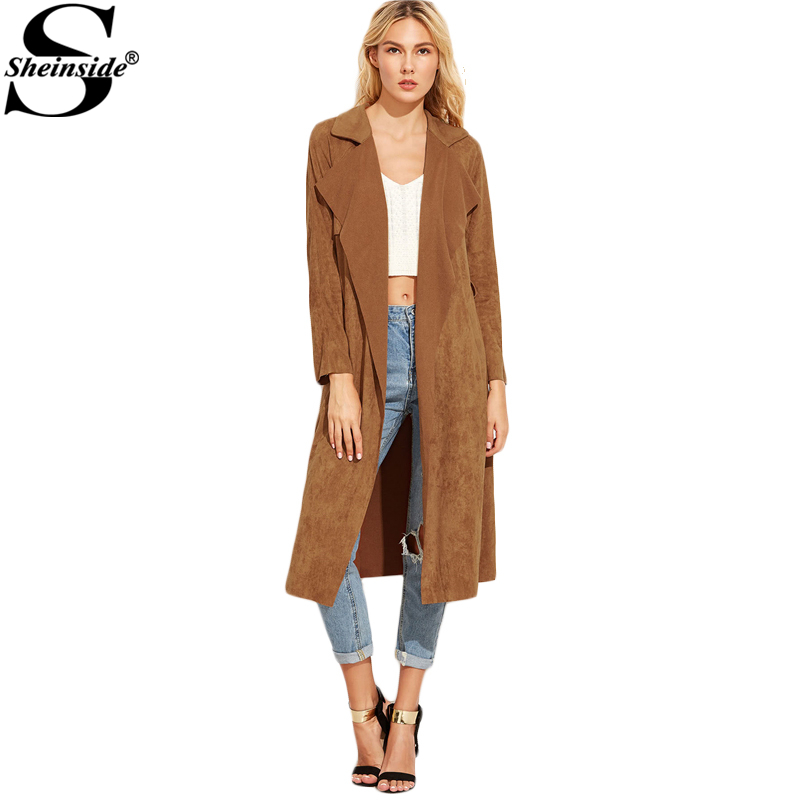 8ccfb027779 Sheinside Brown Suede Self Tie Duster Trench Coat Long Sleeve Wrap Long  Outer With Belt Women