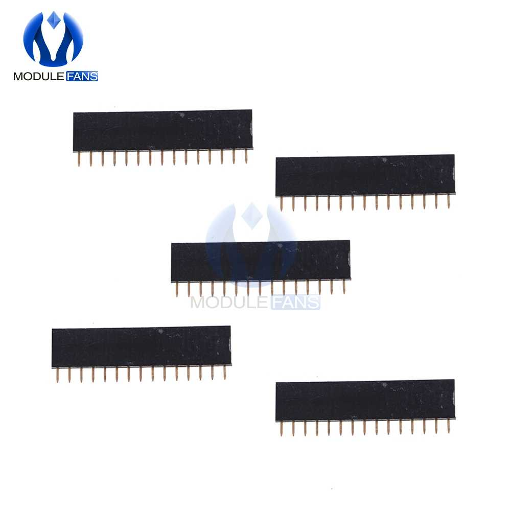 5Pcs 15Pin 15 Pin 1X15 Single Row Straight Female Pin Header 2.54mm Pitch Strip Connector Socket