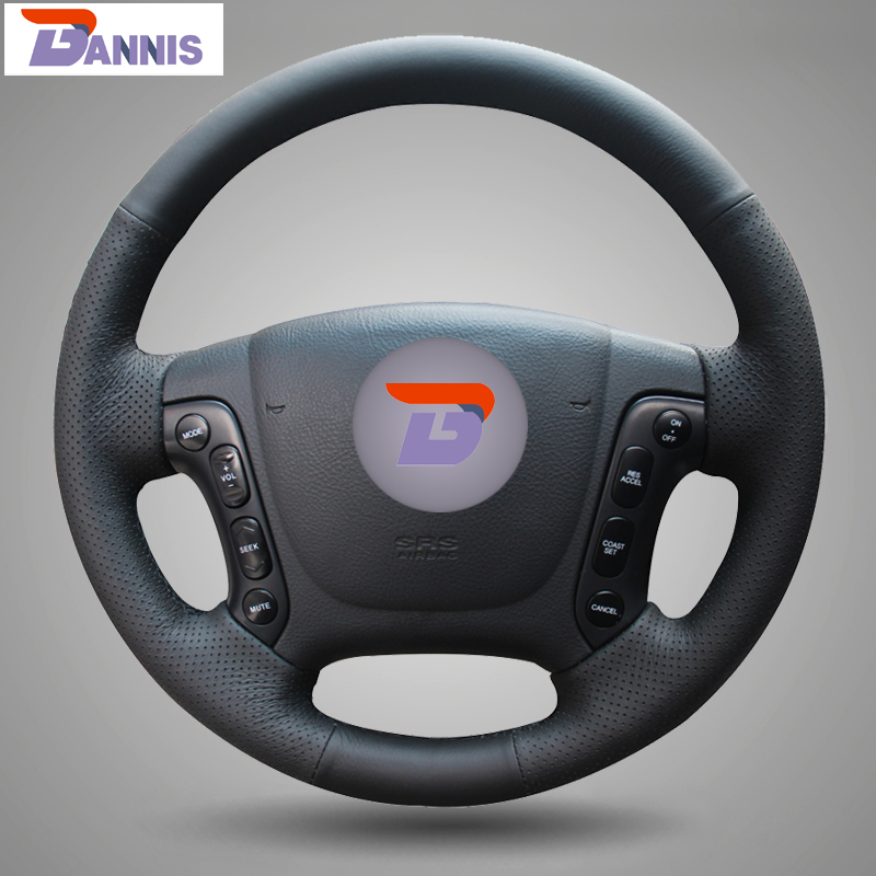 BANNIS Black Artificial Leather DIY Hand stitched Steering Wheel Cover for Hyundai Santa Fe 2006 2012