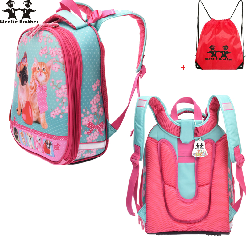 wenjie brother 2017 high quality Children Orthopedic School Bags Girl lovely owl dog font b Backpack
