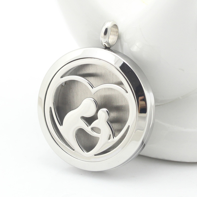 Stainless steel mother love child essential oil diffuser perfume stainless steel mother love child essential oil diffuser perfume locket pendant necklace aloadofball Images