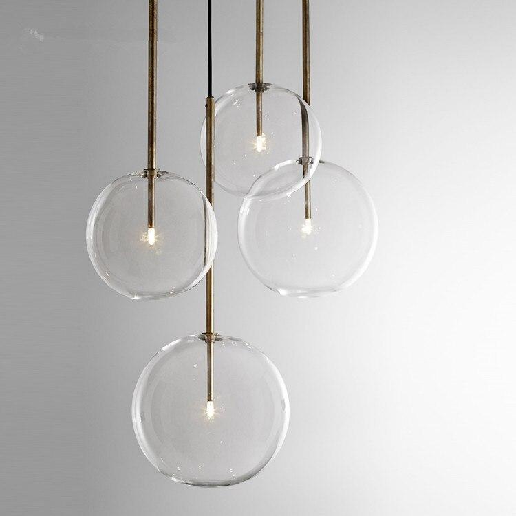 Moderno e minimalista Luzes De Teto Rotativo Lâmpada Led Rodada luzes Bola De Vidro Pendurado Criativo ferro Led G4 lâmpada Interior Home Bar ouro - 6