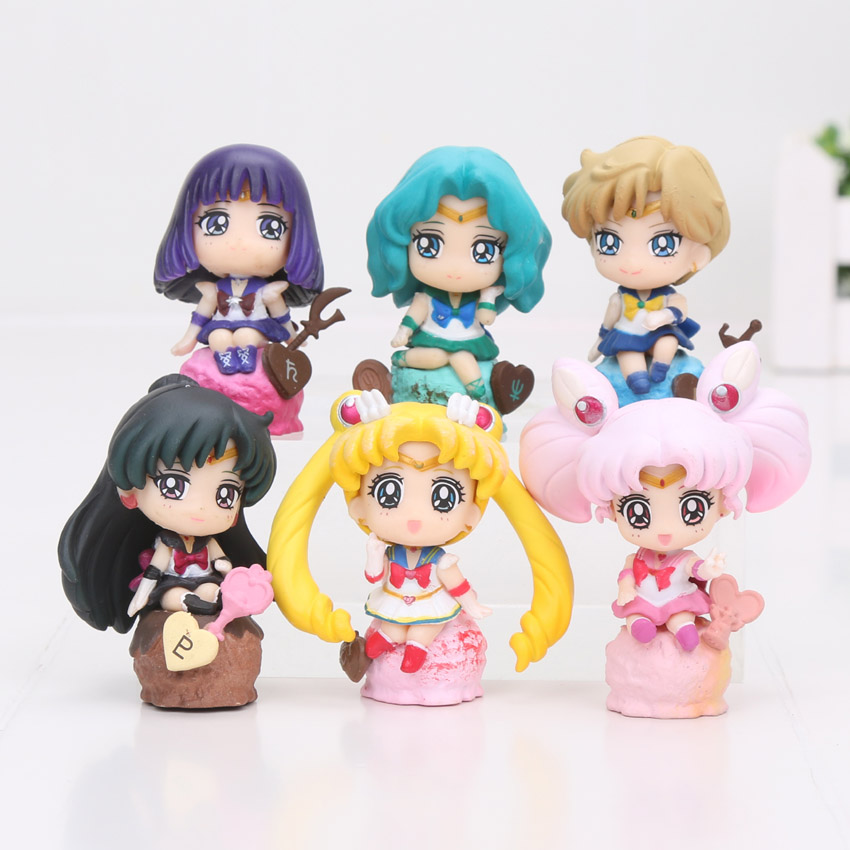 6pcs/lot Anime Sailor Moon Figure Toy Princess Sailor Moon Tsukino Usagi Tuxedo Mask Sailor Venus PVC Action Figure Toys