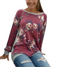Для женщин с цветочным принтом Сращивание футболка с длинным рукавом реглан О-образным вырезом Повседневное Топы корректирующие футболка Топы корректирующие Мода 2017 г. женские футболка осень
