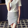 2016 nueva llegada del verano del vendaje de la falda del partido de baile señora de las mujeres elegantes Faldas HASTA LA RODILLA negro blanco striped faldas S-XL jctwq