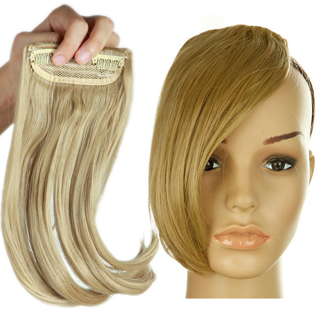 SNOILITE 9inch middle part bangs fake bangs hair pieces blonde brown black  clip in hair extensions 4040c88499
