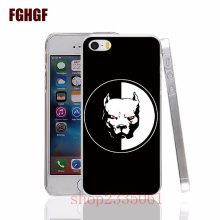 Cute and Lovely Dog Pitbull hard transparent Cover Case for Apple iPhone 4 4S 5 5S 5C SE 6 6S Plus 7 7plus 8 8PLUS X(China)
