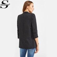 Sheinside Black Polka Dot Open Front Blazer For Ladies 2017 Autumn 3/4 Sleeve Fitted Work Wear Blazer Women's Cute Blazer