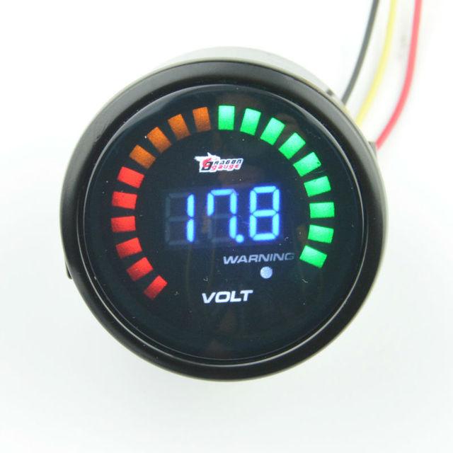 52mm gafas de Sol Carcasa Trasera de batería De Almacenamiento de motocicleta coche 8-18 V volt gauge auto gauge medidor de voltaje Envío gratis