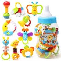 9 unids caja de regalo combinación juguete del bebé Recién Nacido campana de mano sonajeros botella dientes muerden campanas de gran botella de la muñeca del bebé juguetes Para Niños juguetes