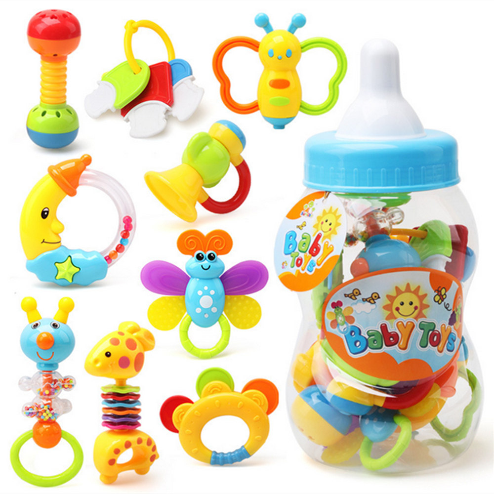 9pcs Newborn baby toy hand bell combination gift box bottle rattles bells big bottle baby wrist teeth bite bell toys Kids  toys newborn baby bed rotary music bell toy baby stroller toy rattles accessories pendant
