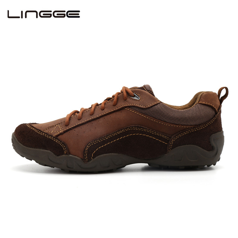 LINGGE Leather Casual Shoes For Men 2017 New Shoes Lace up Rubber Suede Leather Casual Mens