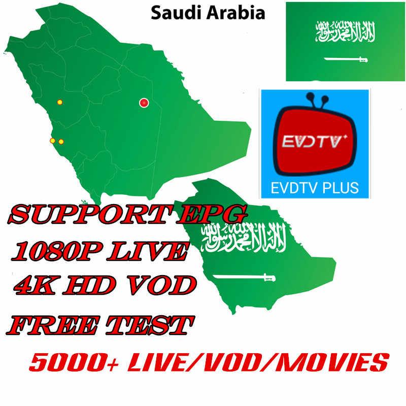 EVDTV PLUS 4K árabe USA IPTV Pakistán irán Alemania India África 5000 canales trabajando en android tv caja de paquete evdtv qhdtv iudtv